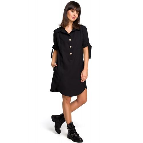 Čierne košeľové šaty s krátkym rukávom a troma drevenými gombíkmi B112