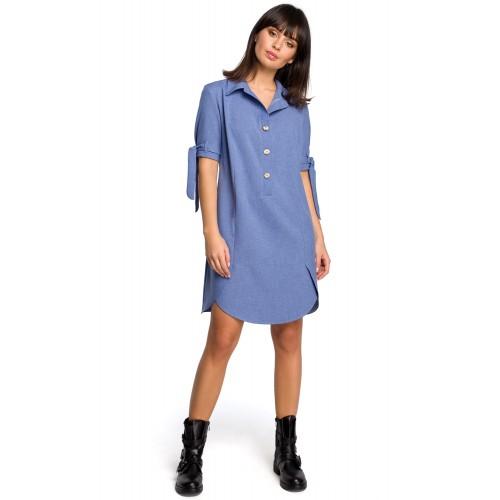 Modré košeľové šaty s krátkym rukávom a troma drevenými gombíkmi B112