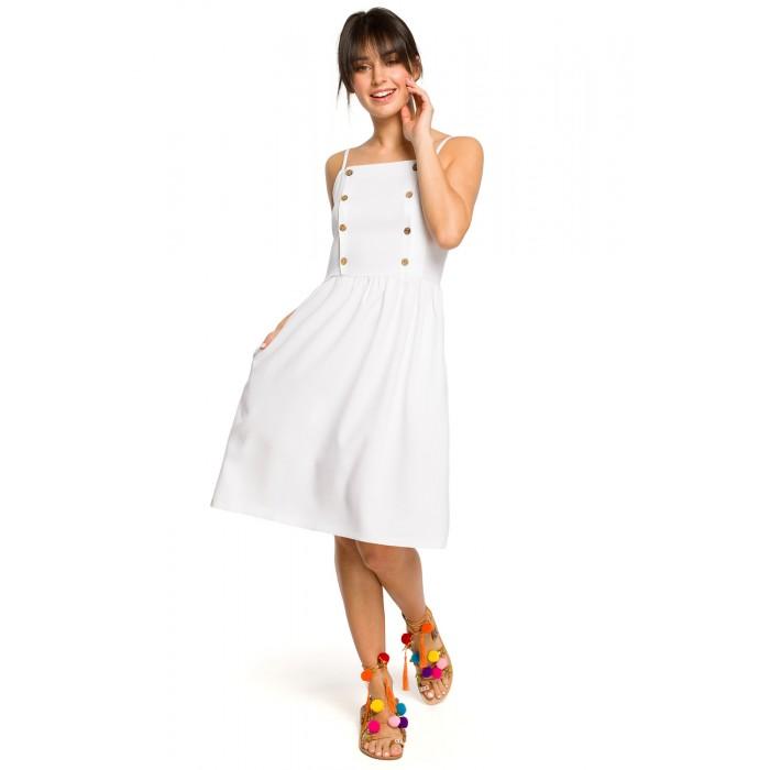 4a1f2b4cdf71 Biele letné šaty na ramienka s drevenými gombíkmi B113