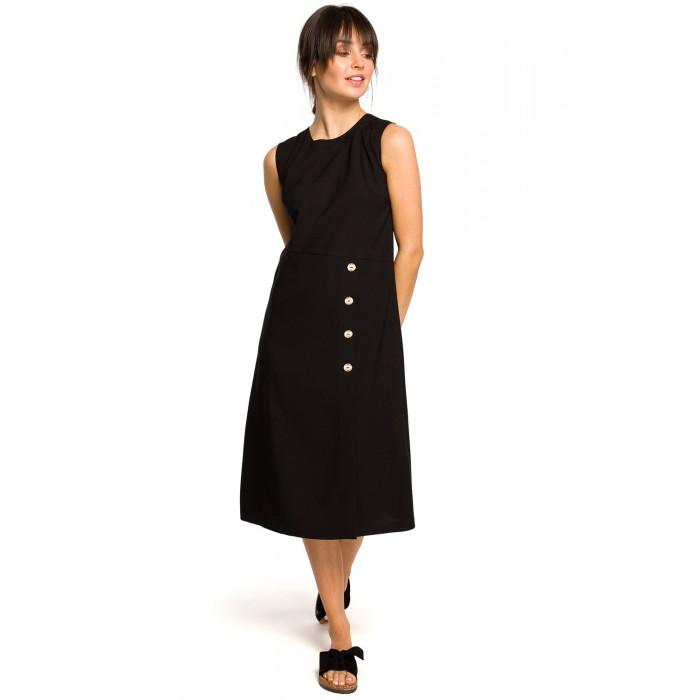 11083b050aa8 Čierne letné MIDI šaty bez rukávov s gombíkmi B115 Nové