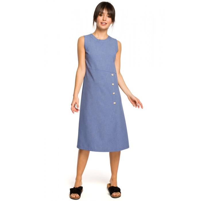 72777f950af2 Modré letné MIDI šaty bez rukávov s gombíkmi B115