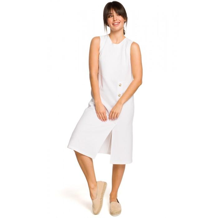 412e1d4ef100 Biele letné MIDI šaty bez rukávov s gombíkmi B115