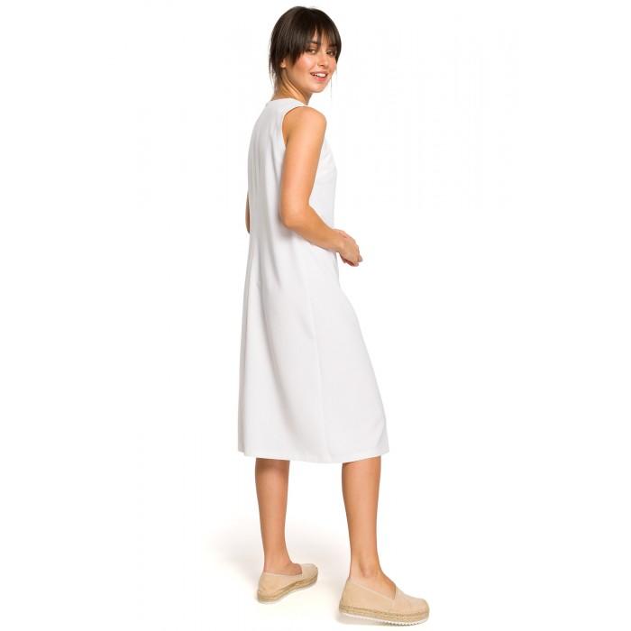3daea56f7 Biele letné MIDI šaty bez rukávov s gombíkmi B115
