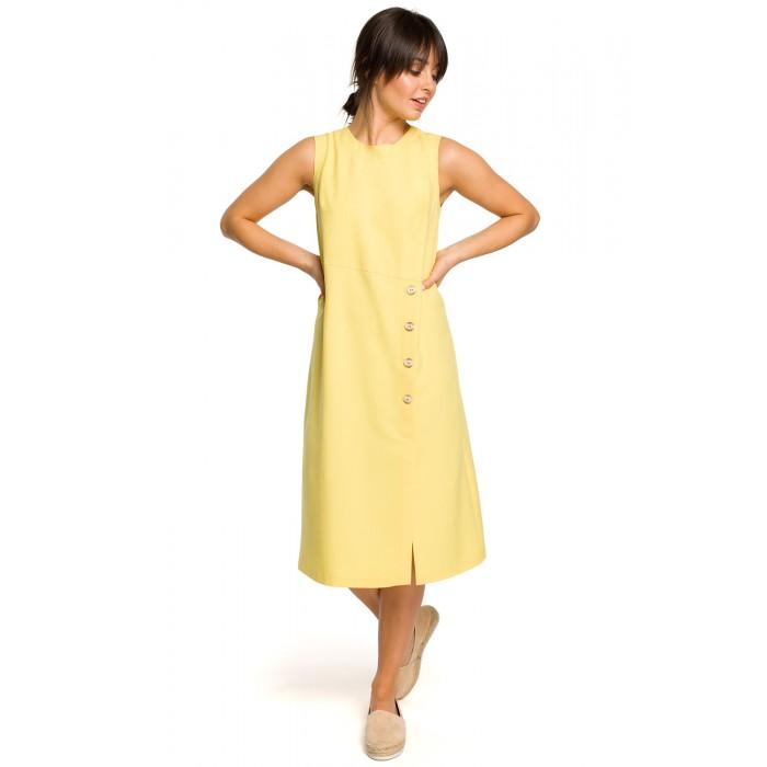 08c36c22b Žlté letné MIDI šaty bez rukávov s gombíkmi B115