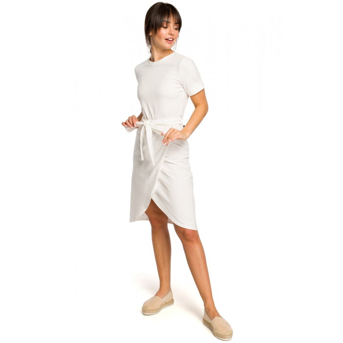 bb9d09e36407 Biele úpletové letné šaty s tulipánovou sukňou B118