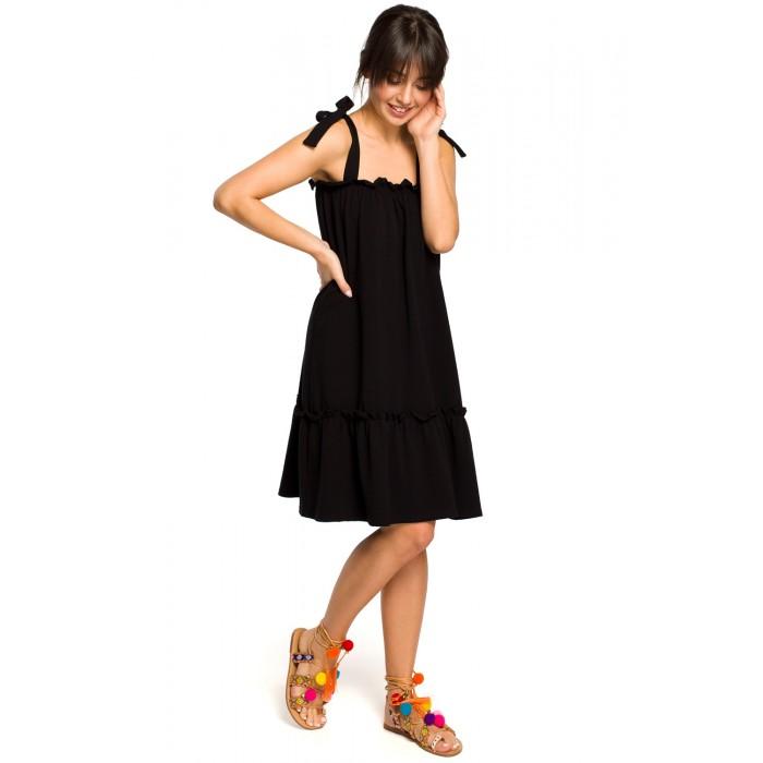 2fd9d4ab7e1c Čierne úpletové letné šaty s volánom a ramienkami na viazanie B119