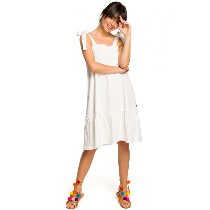 2ae9fcbbf370 Biele úpletové letné šaty s volánom a ramienkami na viazanie B119