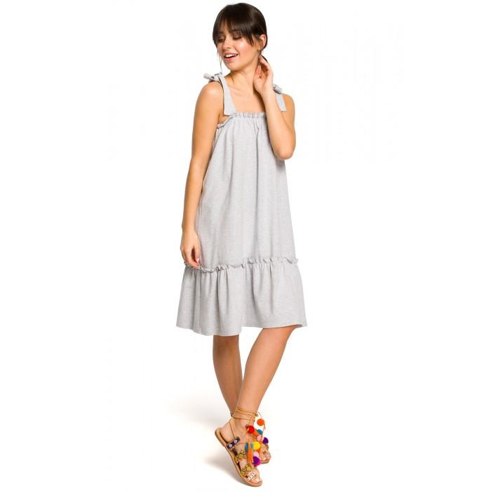 fe7f97c655a9 Sivé úpletové letné šaty s volánom a ramienkami na viazanie B119