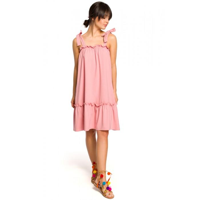 fce556917b6b Ružové úpletové letné šaty s volánom a ramienkami na viazanie B119