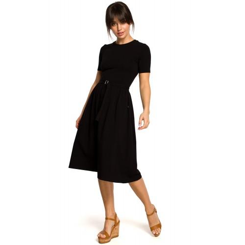 Čierne úpletové letné MIDI šaty  B120 M