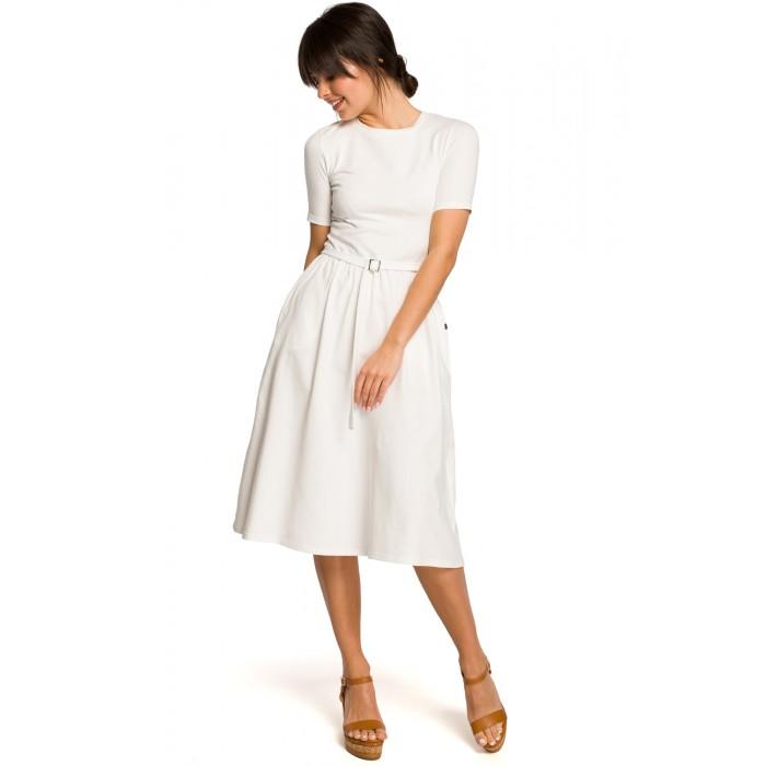 de7786cb5 Biele úpletové letné MIDI šaty s tulipánovou s opaskom B120