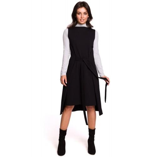 Čierne šaty bez rukávov s viazaním B126