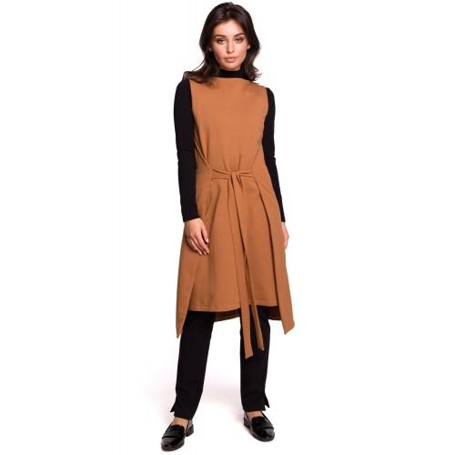 Hnedé šaty bez rukávov s viazaním B126