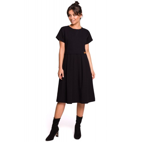 Čierne MIDI šaty s riasenou sukňou B134