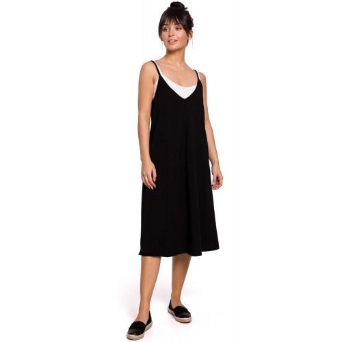 Čierne letné úpletové šaty na ramienka A-linia B154