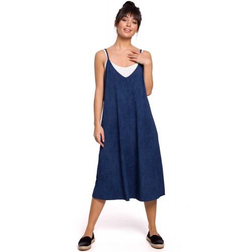 Riflovomodré letné úpletové šaty na ramienka A-linia B154