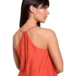 Oranžový letný overal na ramienka s dlhými nohavicami B155