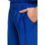 Modrý letný overal na ramienka s dlhými nohavicami B155