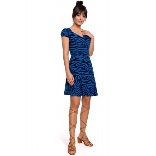 Modré krátke zebrované šaty s rukávom B157