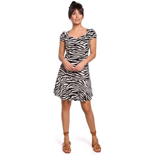 Biele krátke zebrované šaty s rukávom B157