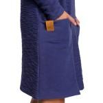 Indigové úpletové šaty s veľkými vreckami B177