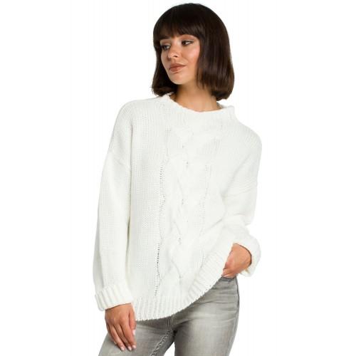 Biely klasický sveter s osmičkovým vzorom BK003
