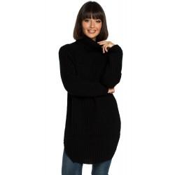 Čierny svetrový rolákový predĺžený sveter BK005