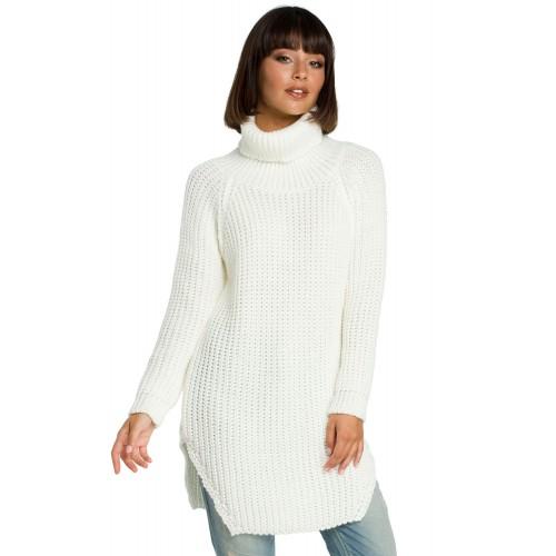 Biely svetrový rolákový predĺžený sveter BK005