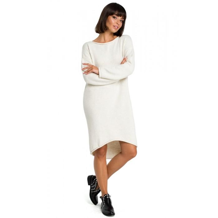 Svetlobéžové svetrové asymetrické šaty s dlhým rukávom BK006 4bd724d3853