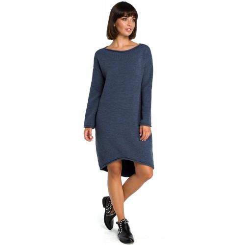 Modré svetrové asymetrické šaty s dlhým rukávom BK006