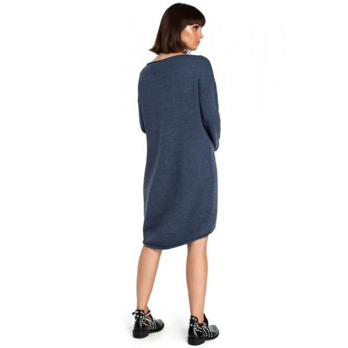 ca7863725f5 Modré svetrové asymetrické šaty s dlhým rukávom BK006