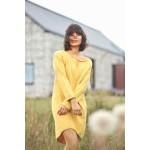 Tmavožlté svetrové asymetrické šaty s dlhým rukávom BK006
