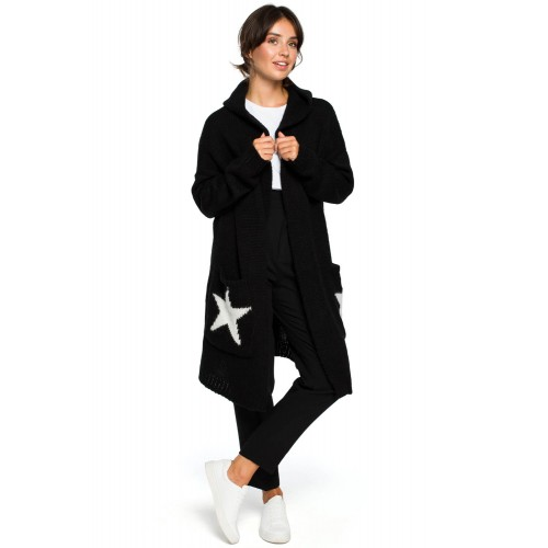 Dlhý čierny kardigán s vreckami STAR BK013