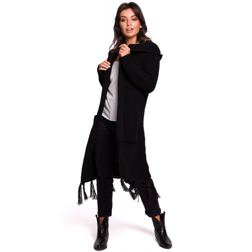 Čierny kardigan s kapucňou a strapcami BK032