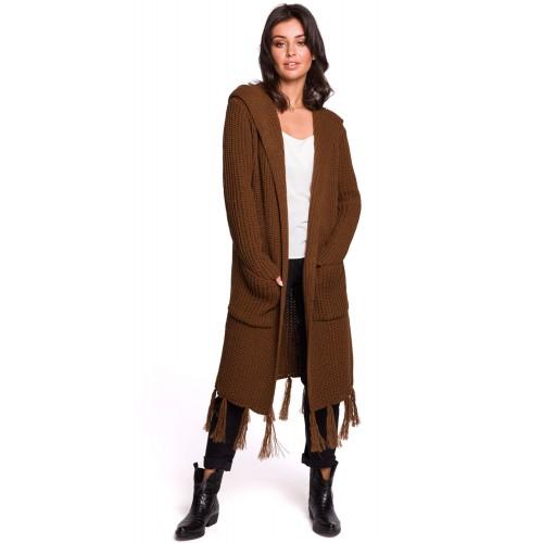 Hnedý kardigan s kapucňou a strapcami BK032