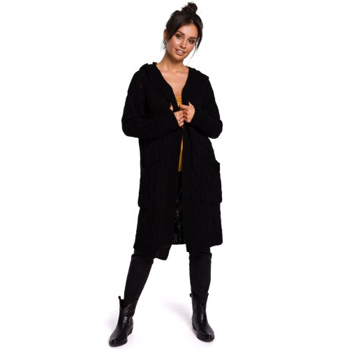 Čierny pletený kardigán s kapucňou a vzorom BK033