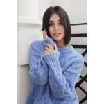Modrý ľahučký sveter s osmičkovým vzorom  BK038