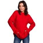 Červený ľahučký sveter s osmičkovým vzorom  BK038
