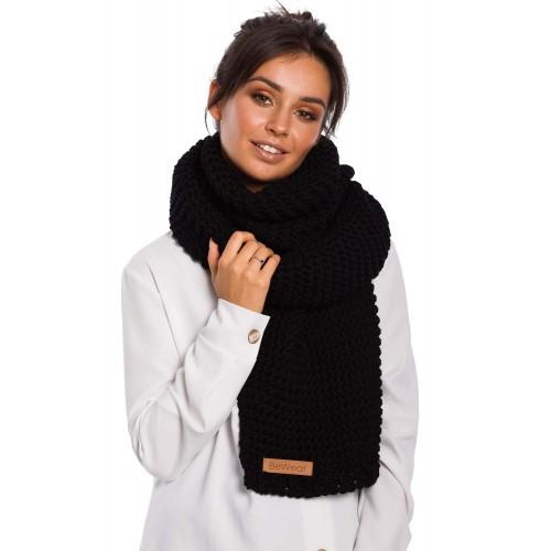 Čierny hrubý pletený šál BK041