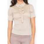 Béžová košeľa s mašličkami a krátkym rukávom M008