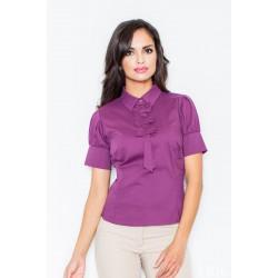 Tmavofialová košeľa s mašličkami a krátkym rukávom M008