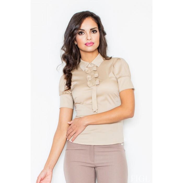 Béžová košeľa s mašličkami a krátkym rukávom M008 80cd4a786ac