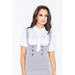 Biela košeľa s mašličkami a krátkym rukávom M008 XL