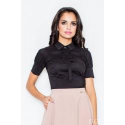 Čierna košeľa s mašličkami a krátkym rukávom M008 XXL