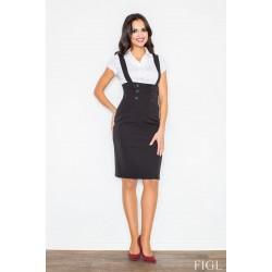 Čierna sukňa s vysokým pásom a ramienkami M010