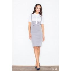 Sivá sukňa s vysokým pásom a ramienkami M010