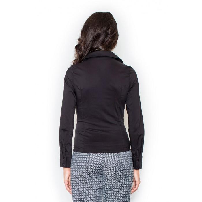 026a7ac45266 Čierna klasická dámska košeľa s dlhým rukávom M021