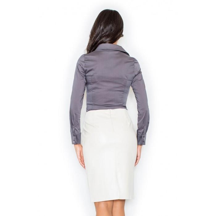 9db249e3afd5 Šedá klasická dámska košeľa s dlhým rukávom M021