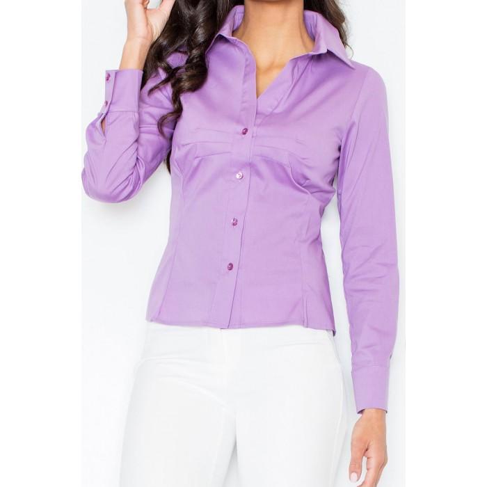 95b16aa0b158 Fialová klasická dámska košeľa s dlhým rukávom M021