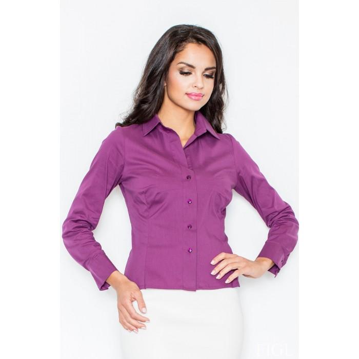 063da79f0c19 Tmavofialová klasická dámska košeľa s dlhým rukávom M021